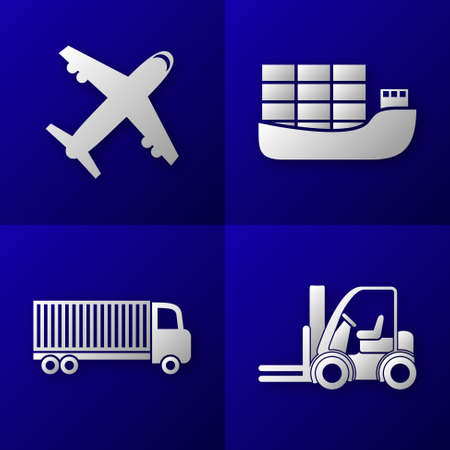 export import: set of export import icons on blue background - plane, cargo ship, truck and forklift - transport