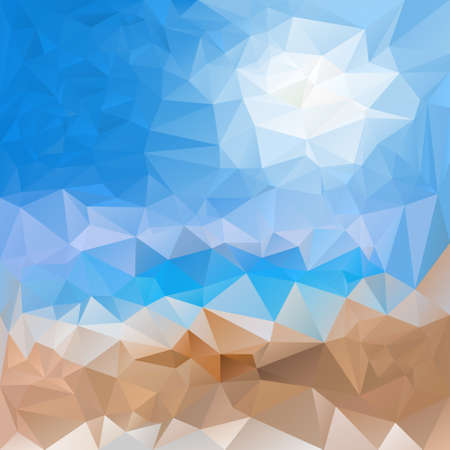 seacoast: vector polygonal background with irregular tessellations pattern - triangular design in sea sand beach and sky colors - blue and beige