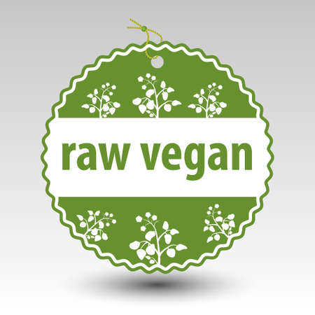vector green raw vegan product paper price tag label with string eyelet with plants Illustration