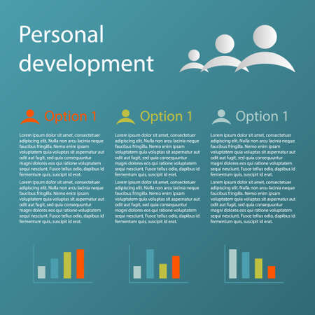 personal development: blue 3 steps personal development infographic concept with charts