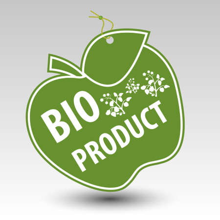 green bio product apple tag label with string eyelet with silhouette of plant