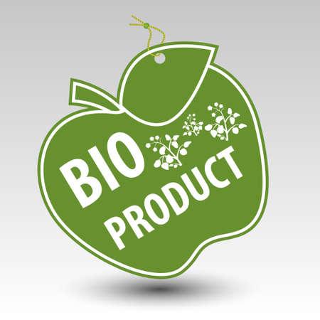 groene bio product appel tag label met string oogje met silhouet van plantaardige