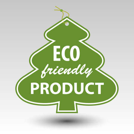 green eco friendly producttree tag label with string eyelet Illustration