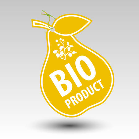 hallmark: yellow bio product pear tag label with string eyelet with silhouette of plant