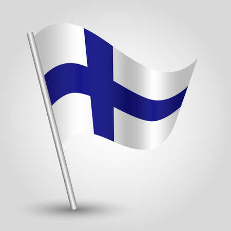 flagged: vector 3d waving simple triangle finnish  flag on pole - national symbol of Finland with inclined metal stick