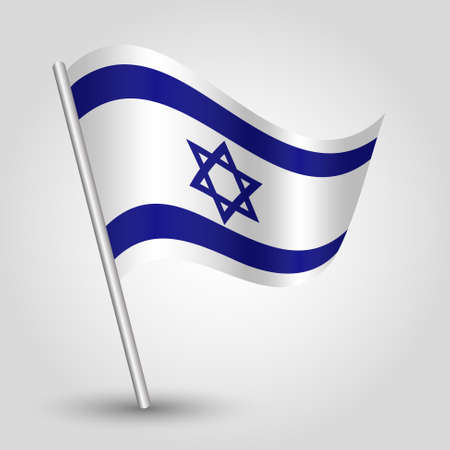 yiddish: vector waving simple triangle israeli flag on pole - national symbol of Israel with inclined metal stick