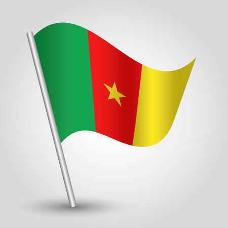 cameroonian: vector waving simple triangle cameroonian  flag on pole - national symbol of Cameroon with inclined metal stick