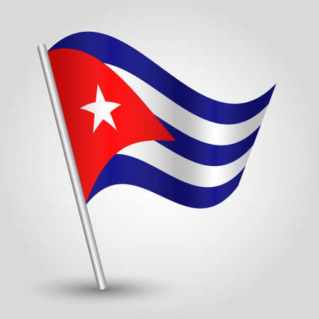 cuban flag: vector waving simple triangle cuban flag on pole - national symbol of Cuba with inclined metal stick