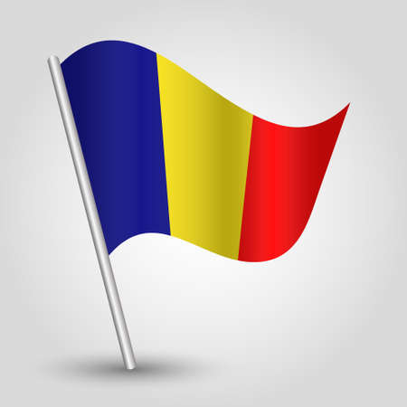flagged: vector waving simple triangle chadian flag on pole - national symbol of Chad with inclined metal stick