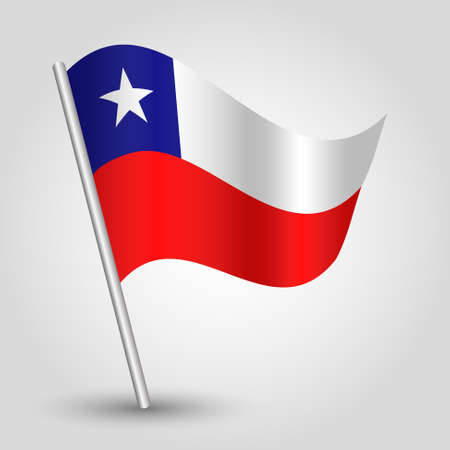 chilean: vector waving simple triangle chilean flag on pole - national symbol of Chile with inclined metal stick Illustration