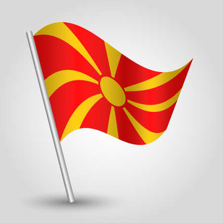 macedonian flag: vector waving simple triangle macedonian flag on pole - national symbol of Macedonia with inclined metal stick
