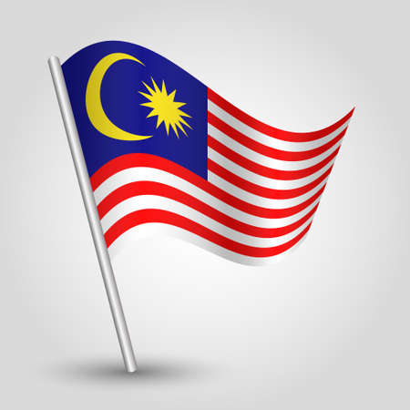 vector waving simple triangle malaysian flag on pole - national symbol of Malaysia with inclined metal stick
