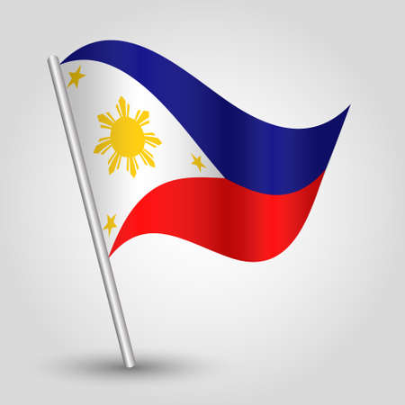 vector waving simple triangle filipino  flag on pole - national symbol of Philippines with inclined metal stick Ilustrace
