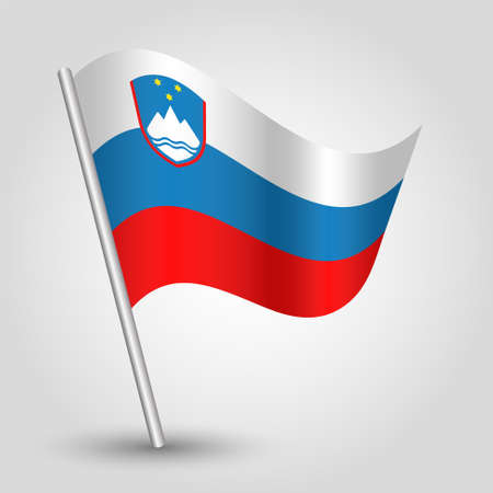 slovenian: vector waving simple triangle slovenian flag on pole - national symbol of Slovenia with inclined metal stick Illustration
