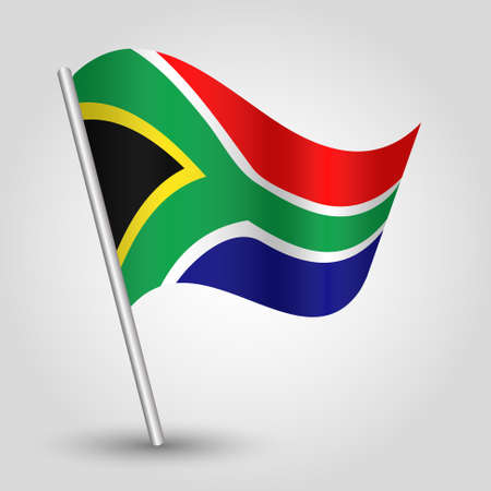 south african flag: vector waving simple triangle african flag on pole - national symbol of South Africa with inclined metal stick