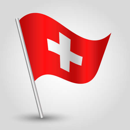 swiss flag: vector waving simple triangle swiss  flag on pole - national symbol of Switzerland with inclined metal stick Illustration