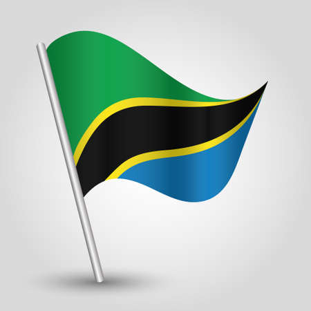 flagged: vector waving simple triangle tanzanian flag on pole - national symbol of Tanzania with inclined metal stick