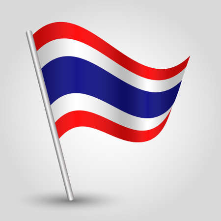 flagged: vector waving simple triangle thai flag on pole - national symbol of Thailand with inclined metal stick Illustration