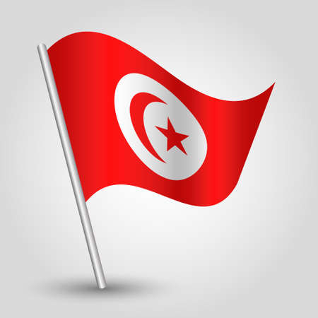 flagged: vector waving simple triangle tunisian flag on pole - national symbol of Tunisia with inclined metal stick