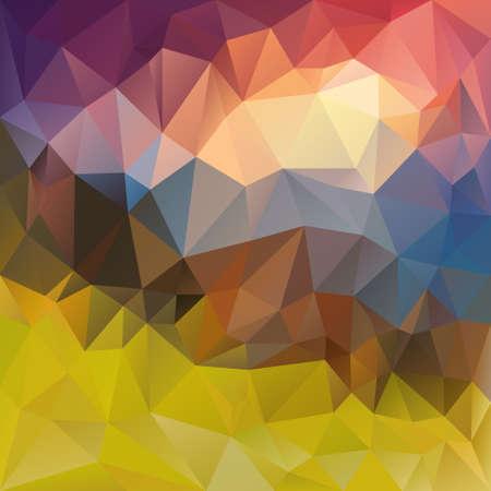 sunup: vector polygonal background with irregular tessellations pattern - triangular landscape sunset - mountains