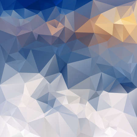 sunup: vector polygonal background with irregular tessellations pattern - triangular design in winter mountains colors - white, blue, yellow