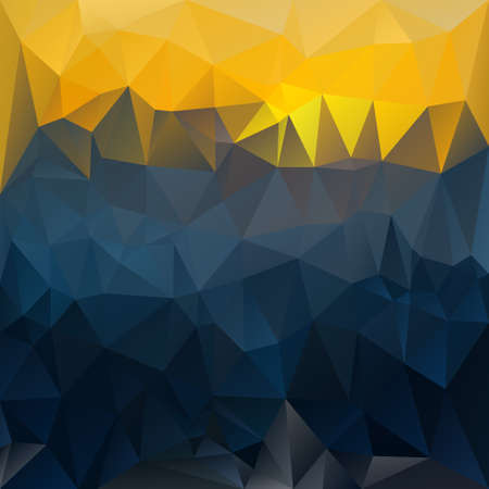 sunup: vector polygonal background with irregular tessellations pattern - triangular design in sundown colors - dark blue and yellow Illustration