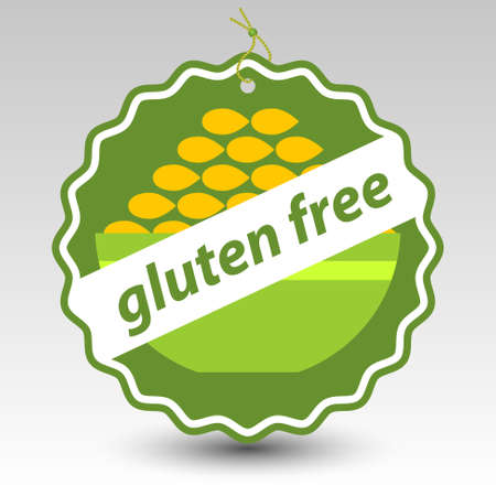 green wheat: vector green gluten free paper price tag label with string eyelet with bowl of wheat Illustration