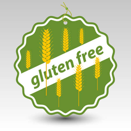 halm: vector green gluten free paper price tag label with string eyelet with wheat stalks Illustration