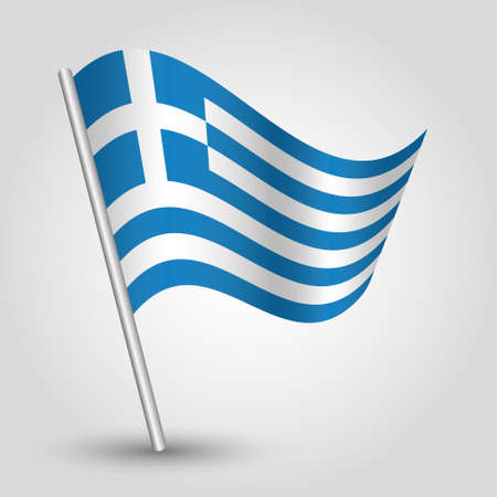 grecian: vector waving simple triangle greek  flag on pole - national symbol of greece with inclined metal stick