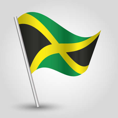jamaican flag: vector waving simple triangle jamaican flag on pole - national symbol of jamaica with inclined metal stick Illustration
