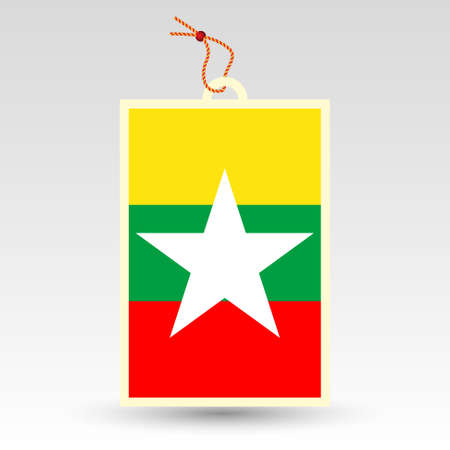 burmese: vector simple burmese price tag - symbol of made in burma - label with national flag and string