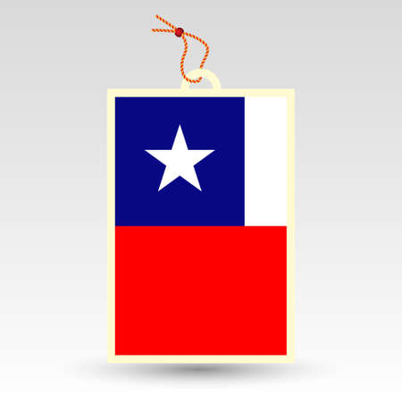 chilean: vector simple chilean price tag - symbol of made in chile - label with national flag and string