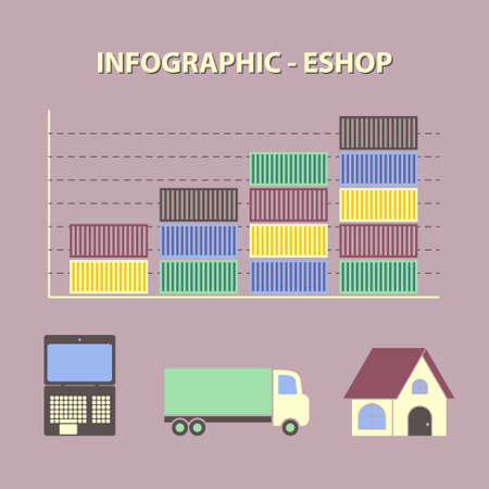 eshop: infographic with graph of growing business online shop, eshop trade with icons of laptop, truck and home in flat design
