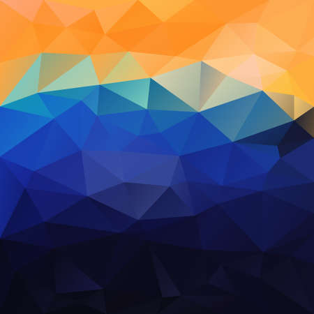 sunup: vector polygonal background with irregular tessellations pattern - triangular design in sea colors - blue, yellow, orange Illustration