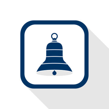 clang: square blue icon bell with long shadow - symbol of alarm, announce, alert, music, mute, reminder, sound