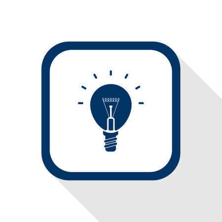 bums: square blue icon lighting bulb with long shadow - symbol of idea,  ideas, conception, inspiration