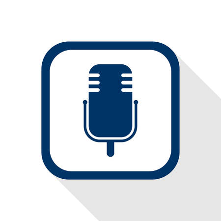 square blue icon microphone with long shadow - symbol of music, audio, communication, karaoke, media, radio, sound