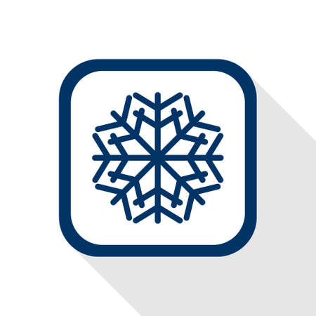 hoariness: square blue icon snow flake with long shadow - symbol of winter, cold, christmas, slippery ice, icing