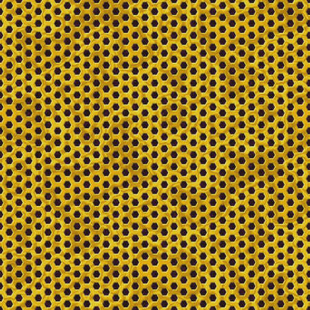 gold metal perforated sheet seamless pattern texture background with honeycomb hexagon shape holes