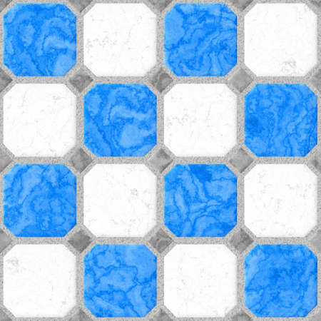 draughts: floor tiles squares seamless pattern texture background - blue, gray Stock Photo