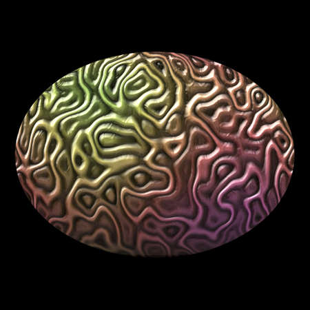 veneer: oval pattern of brain tissue isolated on black background - gold, pink, metallic