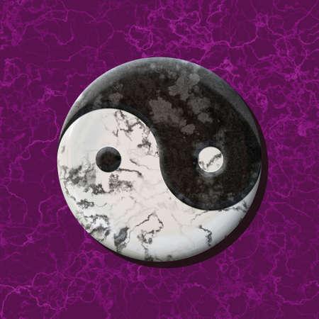 black and white jin jang balance symbol on marble purple background - seamless pattern texture Reklamní fotografie