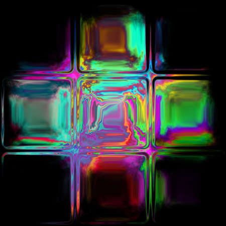 significantly: neon glass luxfers cross pattern texture on black background Stock Photo
