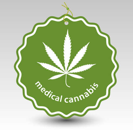 curative: green medical cannabis marijuana tag label with string eyelet with silhouette of leaf plant