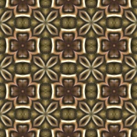 cloverleaves: brown kaleidoscope floral geometric seamless pattern texture background Stock Photo