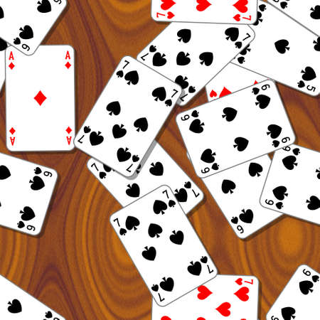 woody: playing cards scattered on the wooden table - seamless pattern texture background