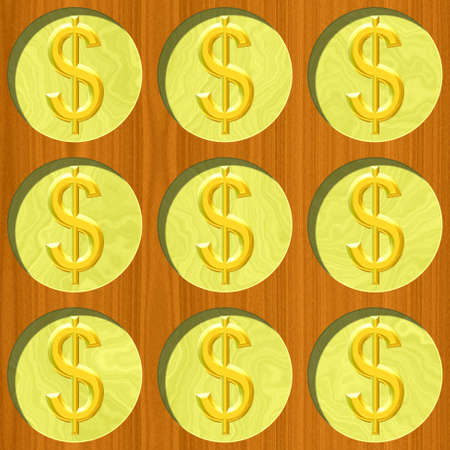 nine gold dollar coins on wooden desk pattern texture background
