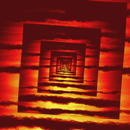 perspective red fire square spiral pattern texture background