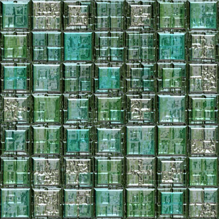 gleaming: green blue silver metallic glass mosaic tiles seamless pattern texture background