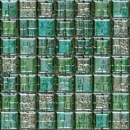 wallboard: green blue silver metallic glass mosaic tiles seamless pattern texture background
